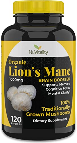 Organic Lions Mane Mushroom Capsules – Fast Acting Brain Supplement – Enhances Memory, Concentration, Attention and Energy – Made from 100 Real Lion s Mane Mushrooms with Bioperine – 120 Count