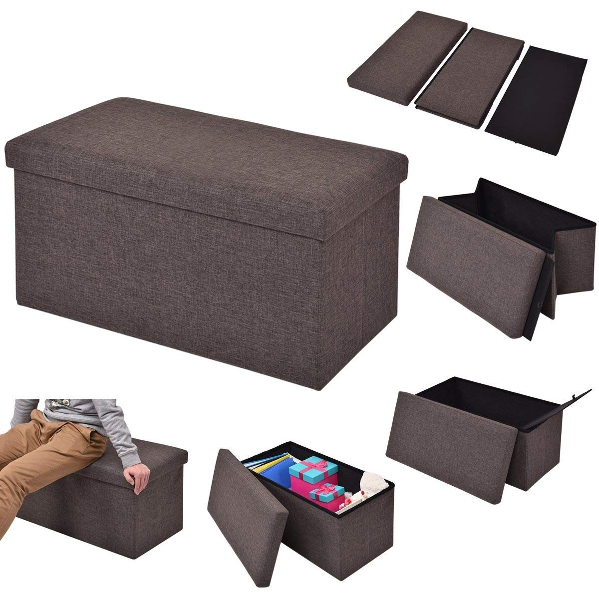 Costway Folding Storage Ottoman 2 Size of Single (1 Seater) & Double (2 Seater) Available Pouffe Foot Box 3 Colors Stool Suitable for Bedroom Living Room Office Study Home (Brown, Single (1 Seater))