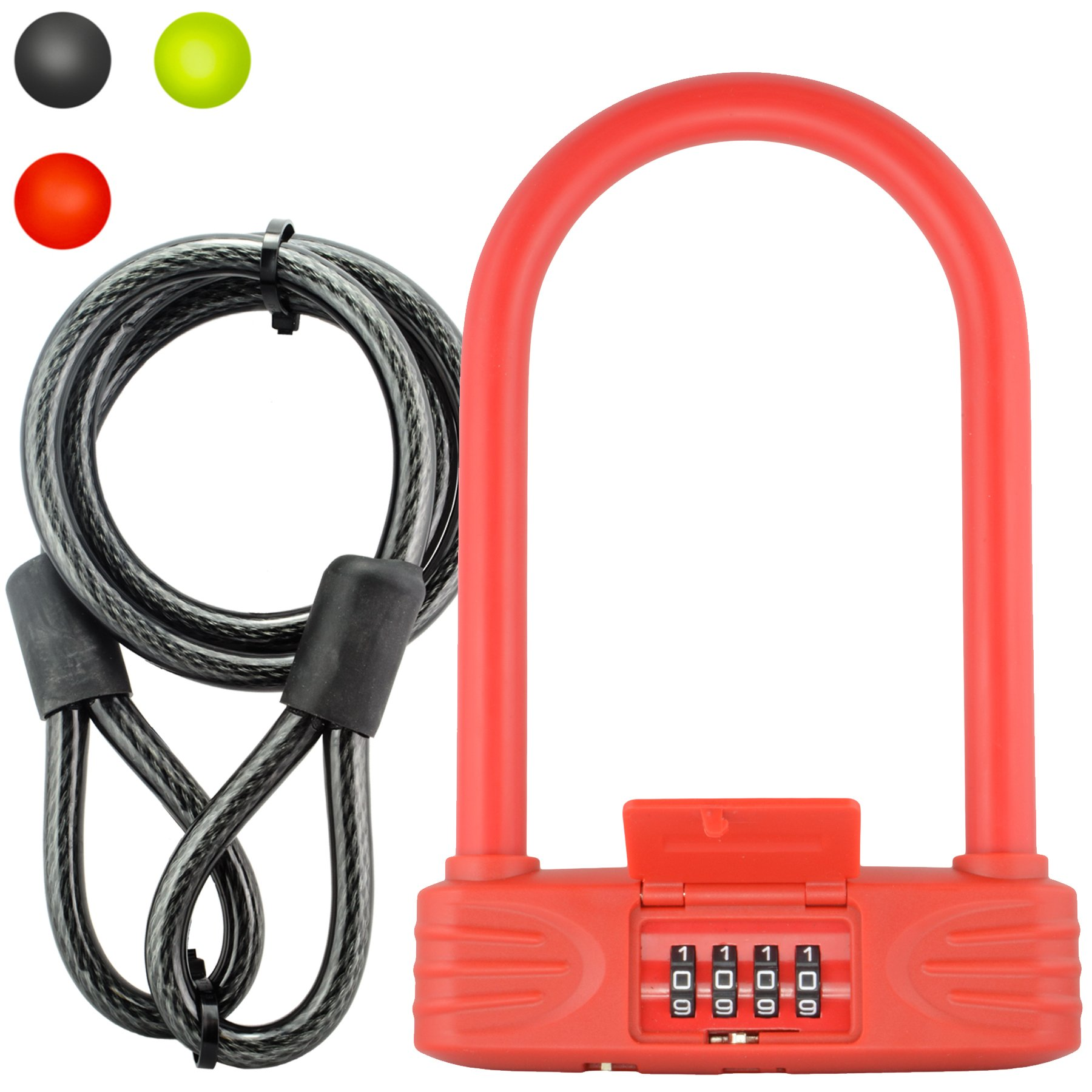 Lumintrail 16mm Heavy Duty 4-Digit Bicycle Bike Combination U-Lock with 4 ft Cable - Assorted Colors (Red) by Lumintrail
