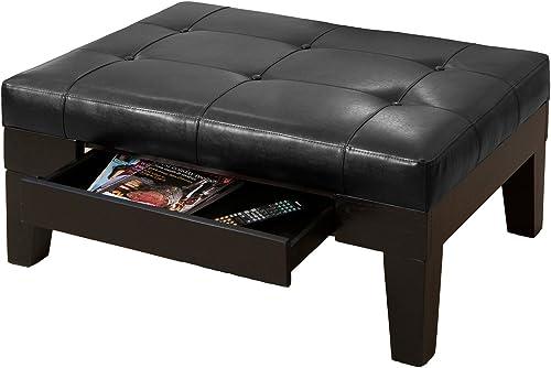 Best Selling Chatham Leather Storage Ottoman, Black