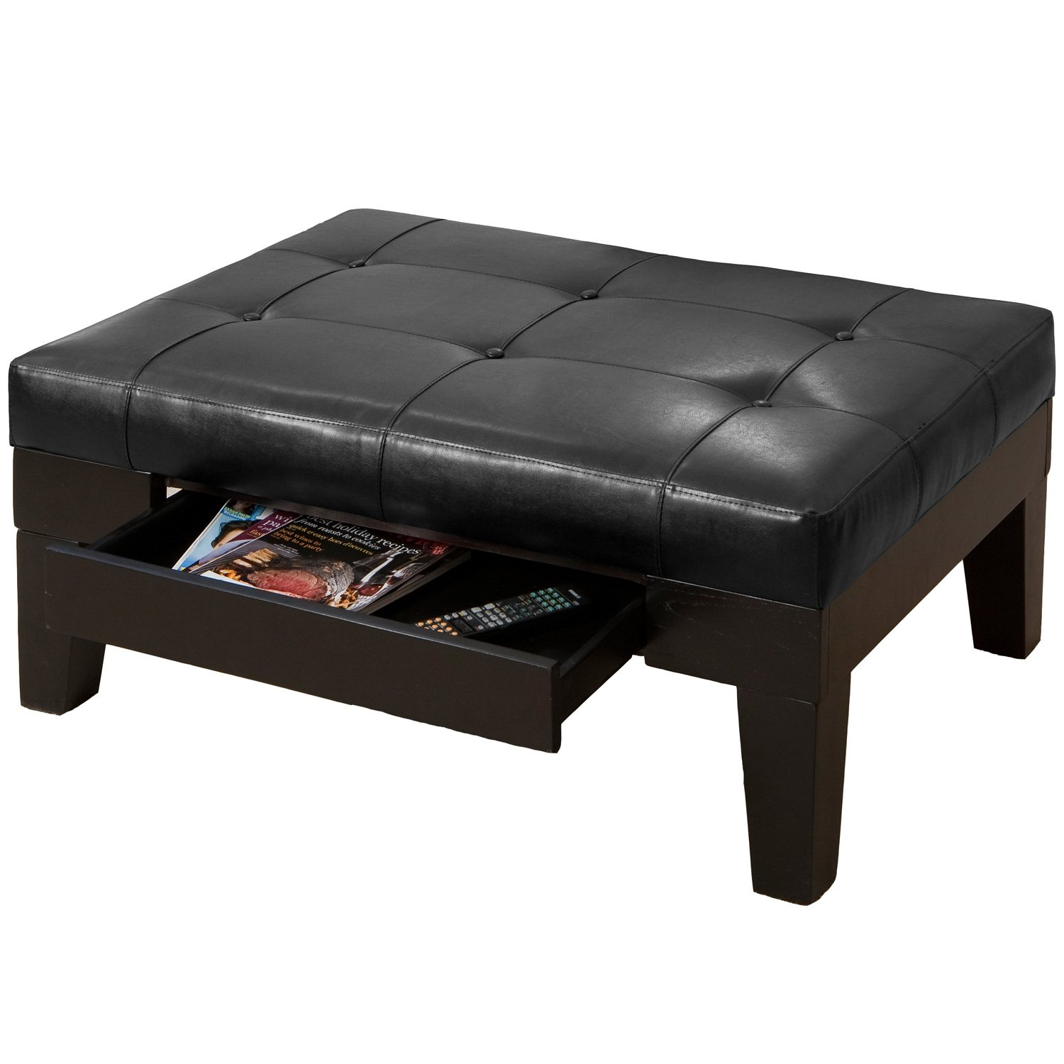 amazoncom tucson black leather tufted top coffee table w drawer kitchen u0026 dining