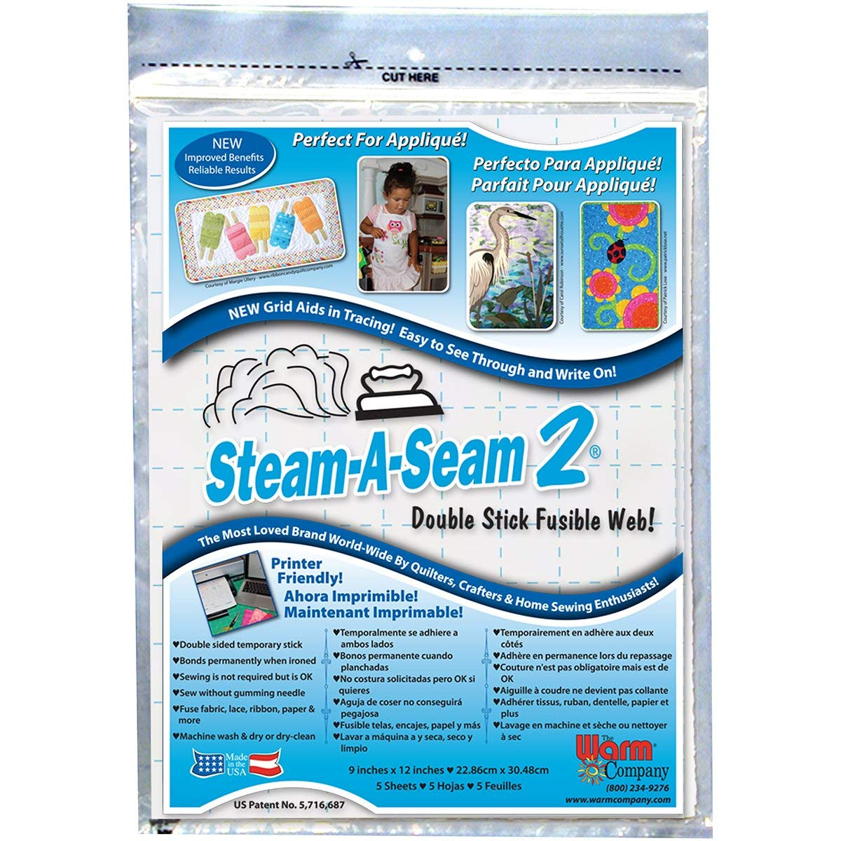 Warm Company Bulk Buy (3-Pack) Steam A Seam 2 Double Stick Fusible Web 9 inch x 12 inch Sheets 5 Pack 5517 by The Warm Company