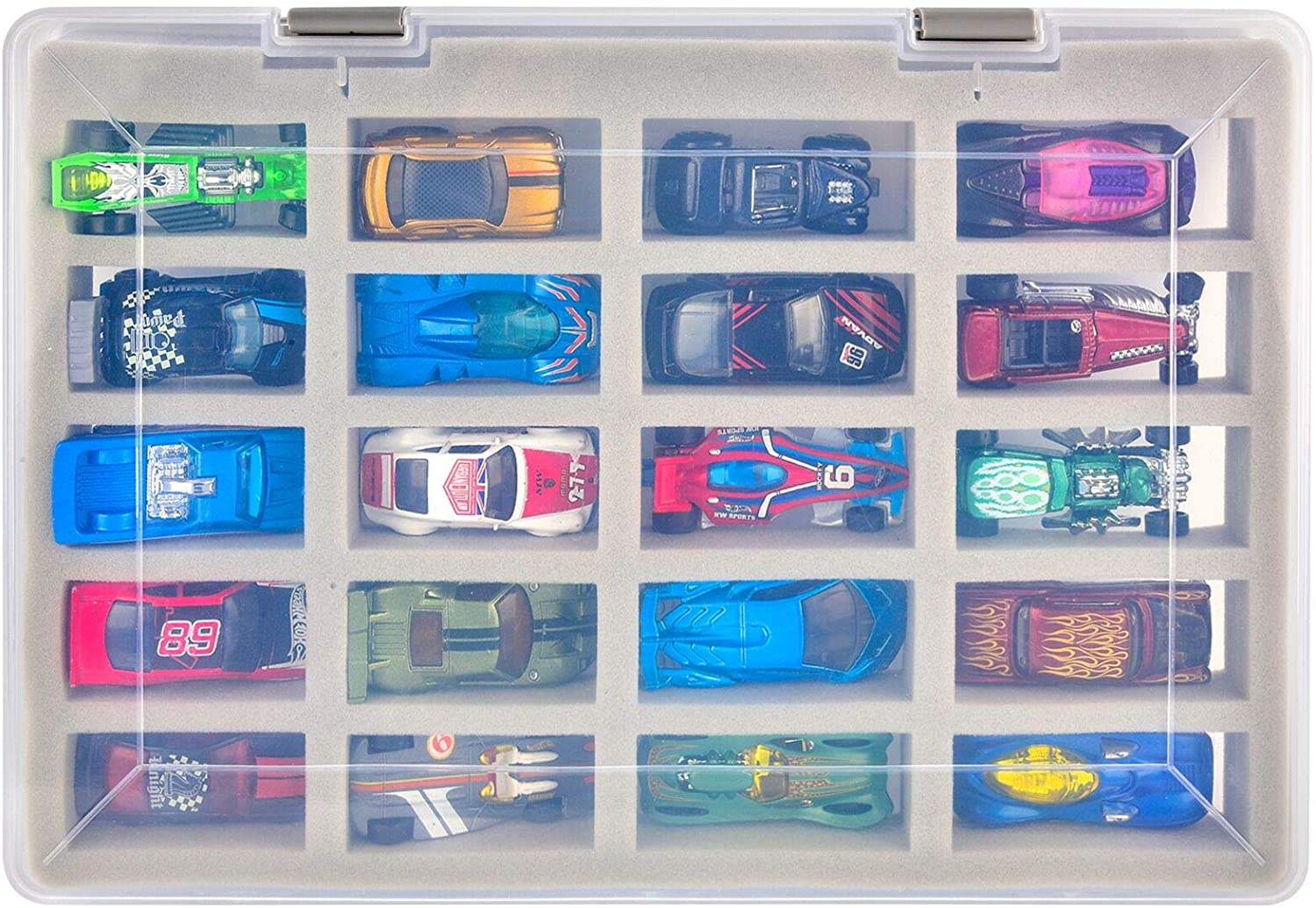Box Only Toy Cars Organizer Storage Container Holds Up to 20 Hot Wheels Car Display Carrying Holder with 4 Size of Slots Adam Case Compatible with Hot Wheels Cars Gift Pack