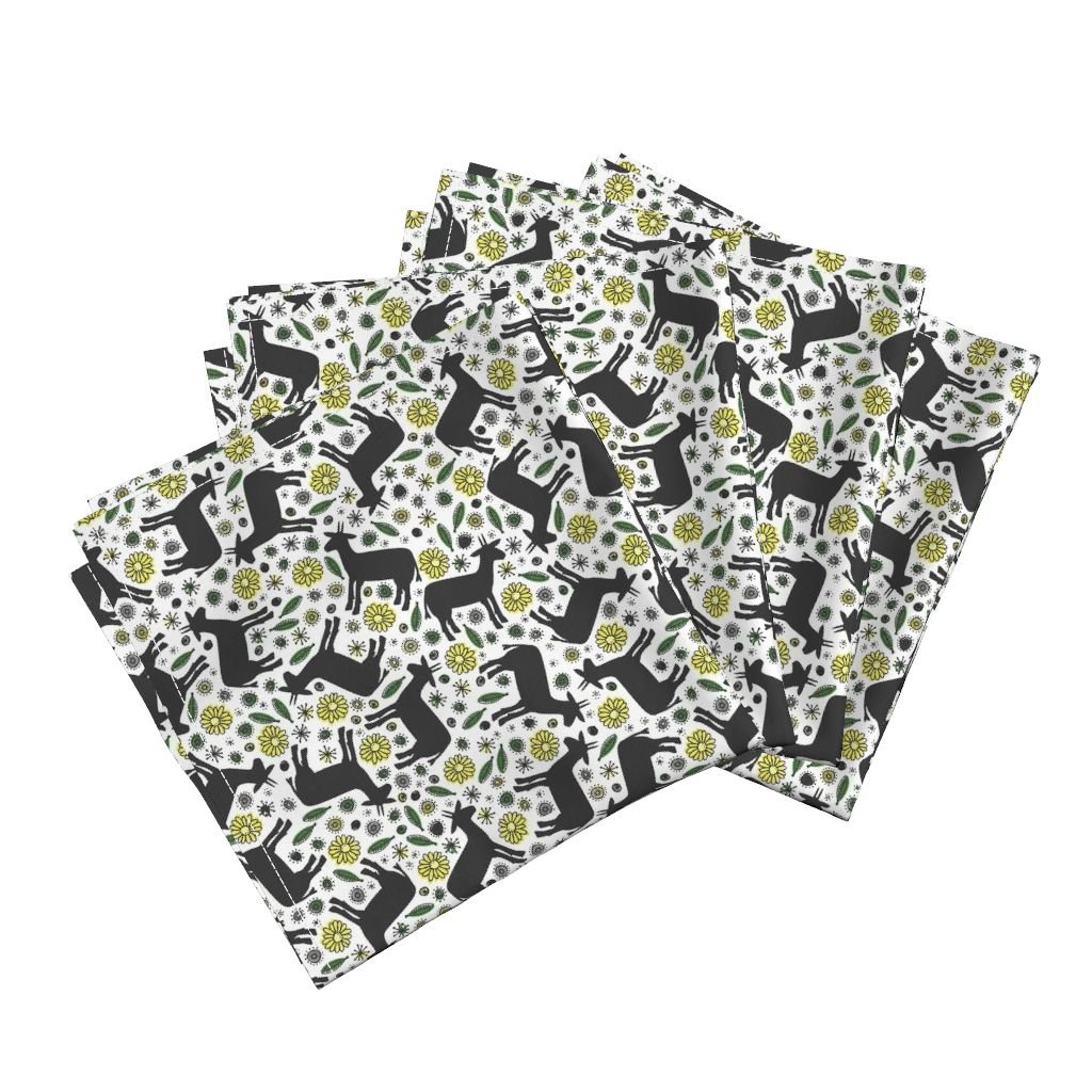 Goat Flower Floral Nature Animal Plant Leaves Organic Sateen Dinner Napkins Goats and Flowers by Robyriker Set of 4 Dinner Napkins by Roostery