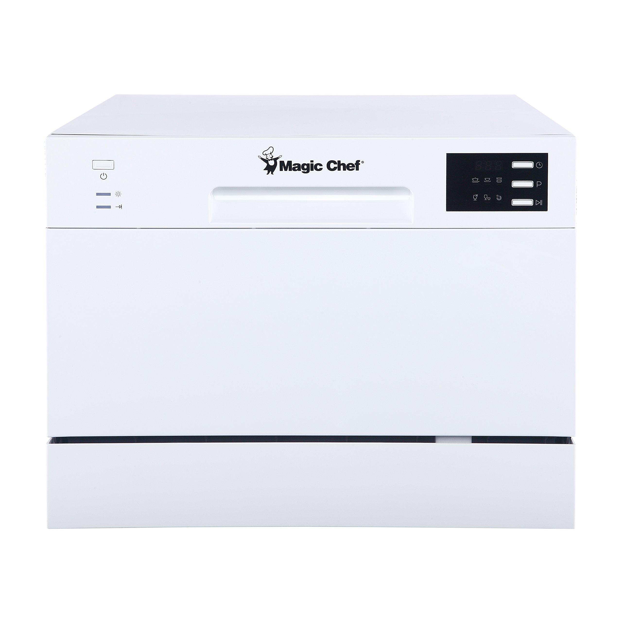 Magic Chef MCSCD6W5 6 Plate Countertop Dishwasher, White