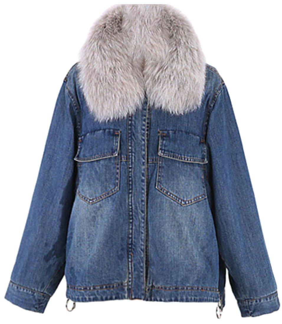 ainr Women's Casual Fleece Lined Jackets Denim Long Sleeve Jackets Coat Denim Blue S