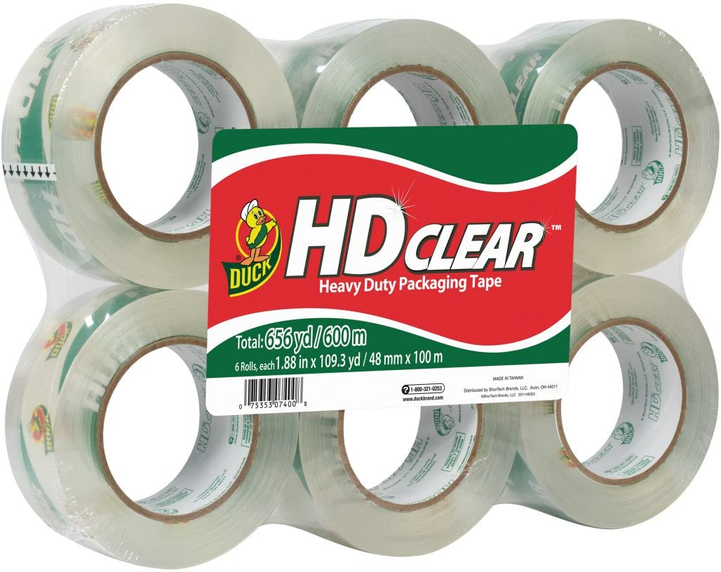 Duck HD Clear Heavy Duty Packing Tape, 1.88 Inch x 109 Yards, 6 Rolls (299016) : Office Products
