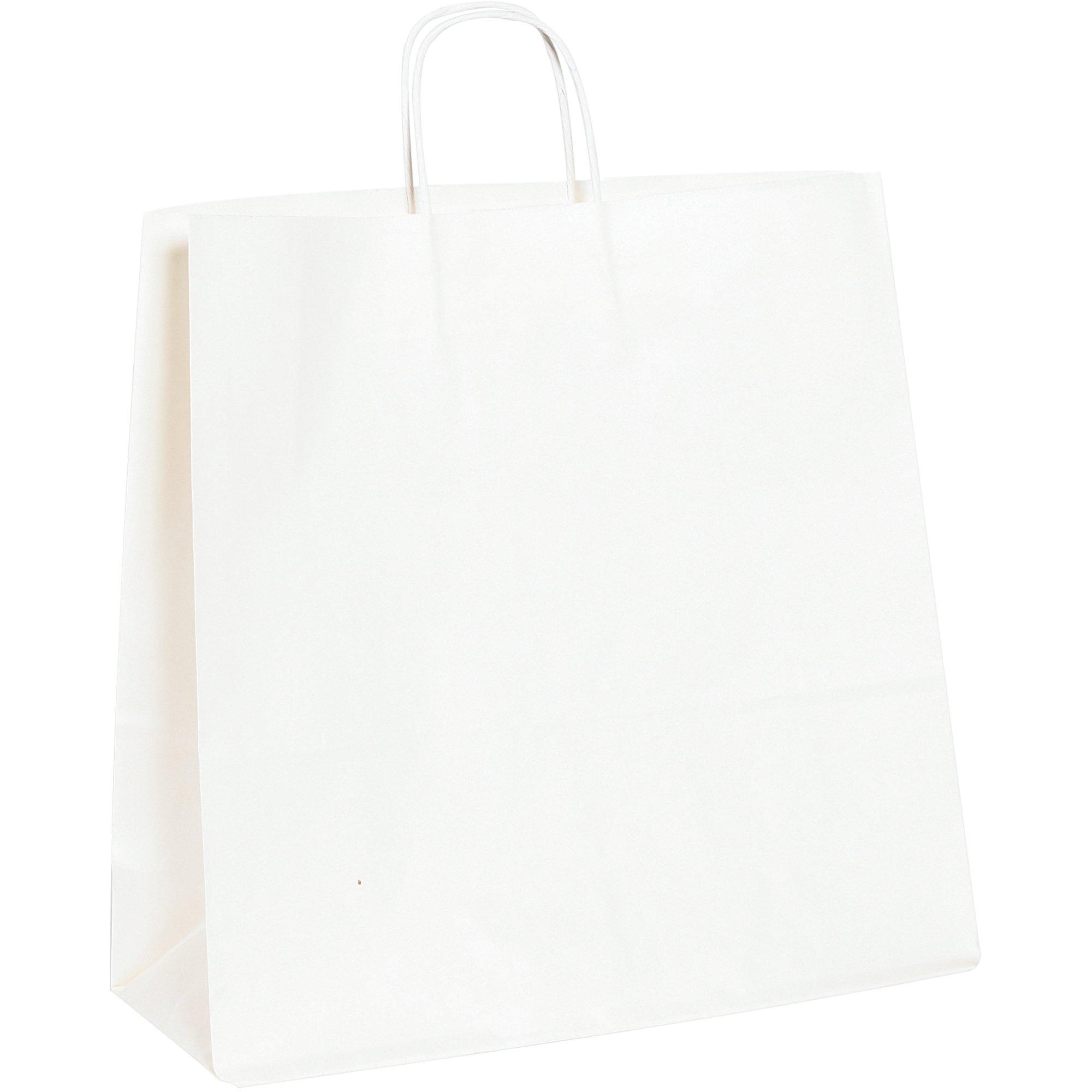 Paper Shopping Bags, 16'' x 6'' x 15 3/4'', White, 200/Case