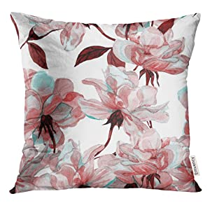 Golee Throw Pillow Cover Blue Flower Watercolor Rose Floral Colorful Maroon Allover Decorative Pillow Case Home Decor Square 18x18 Inches Pillowcase
