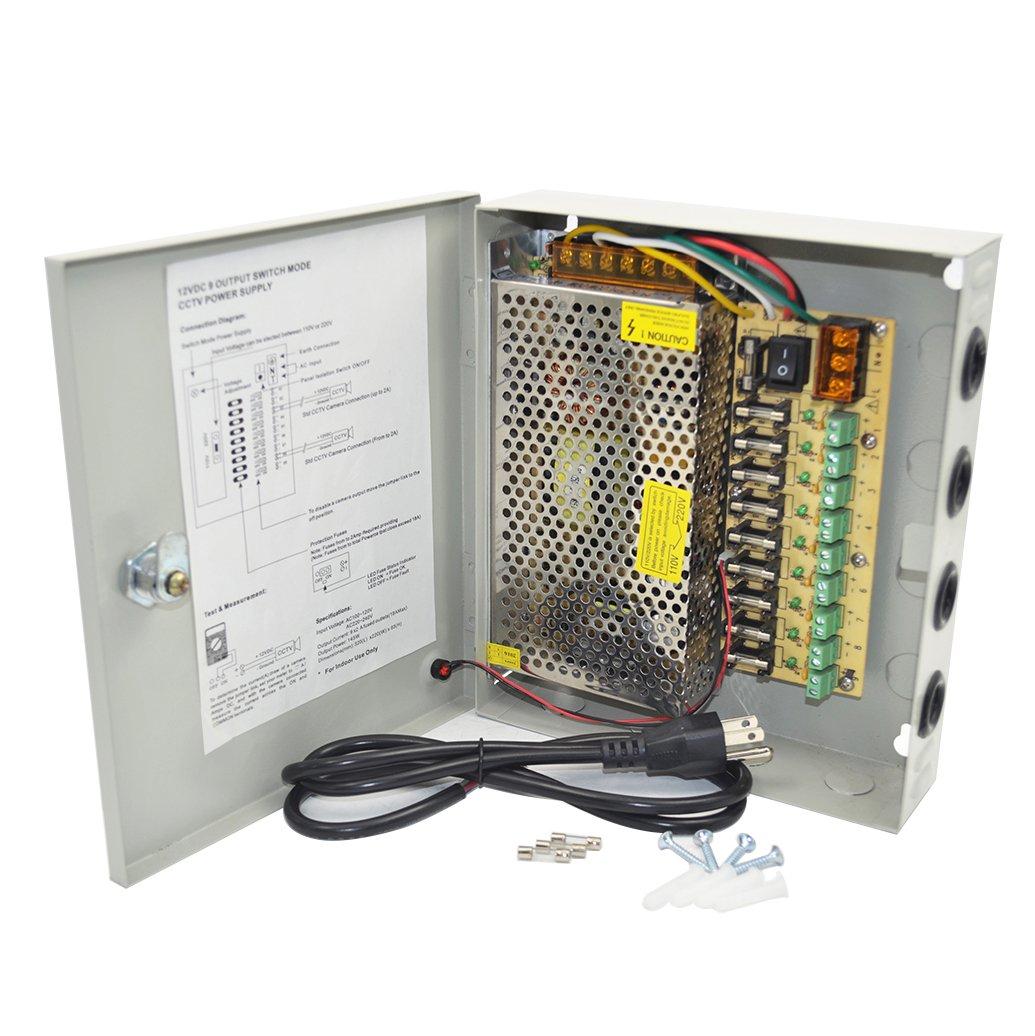 Adapter Power Supply Fuse Box Explained Wiring Diagrams Letour 9 Channel Dc 12v Cctv 12 5amp 150w Splitter Holder