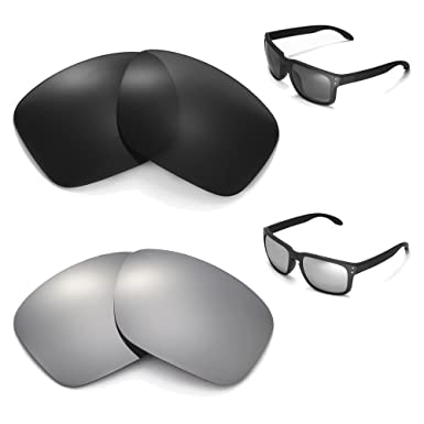 New Walleva Polarized Black + Titanium Lenses For Oakley Holbrook