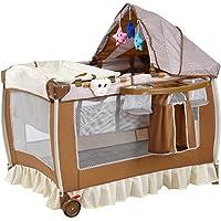 Lit bébé parapluie pliant lit de voyage pour bébé brun 2 niveaux muni d'auvent avec jouets suspendus et sac à langer