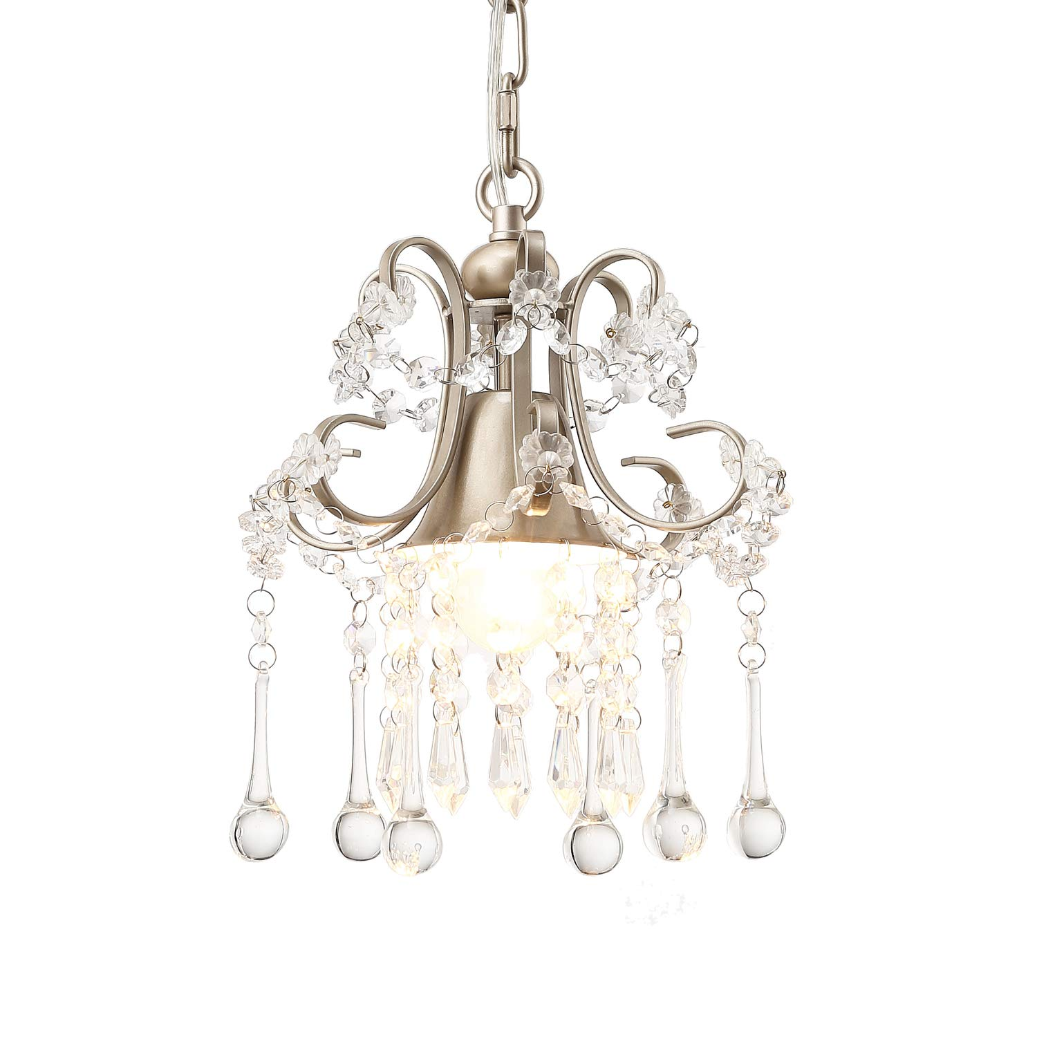 Garwarm Mini Style Clear Crystal Chandeliers, Ceiling Lights,Crystal Pendant Light,Ceiling Light Fixtures for Living Room Bedroom Restaurant Porch Chandelier,1-Light,Champagne