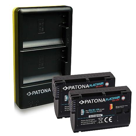 PATONA Dual Cargador + 2X Platinum Batteria Compatible con Nikon EN-EL15b, con Micro USB