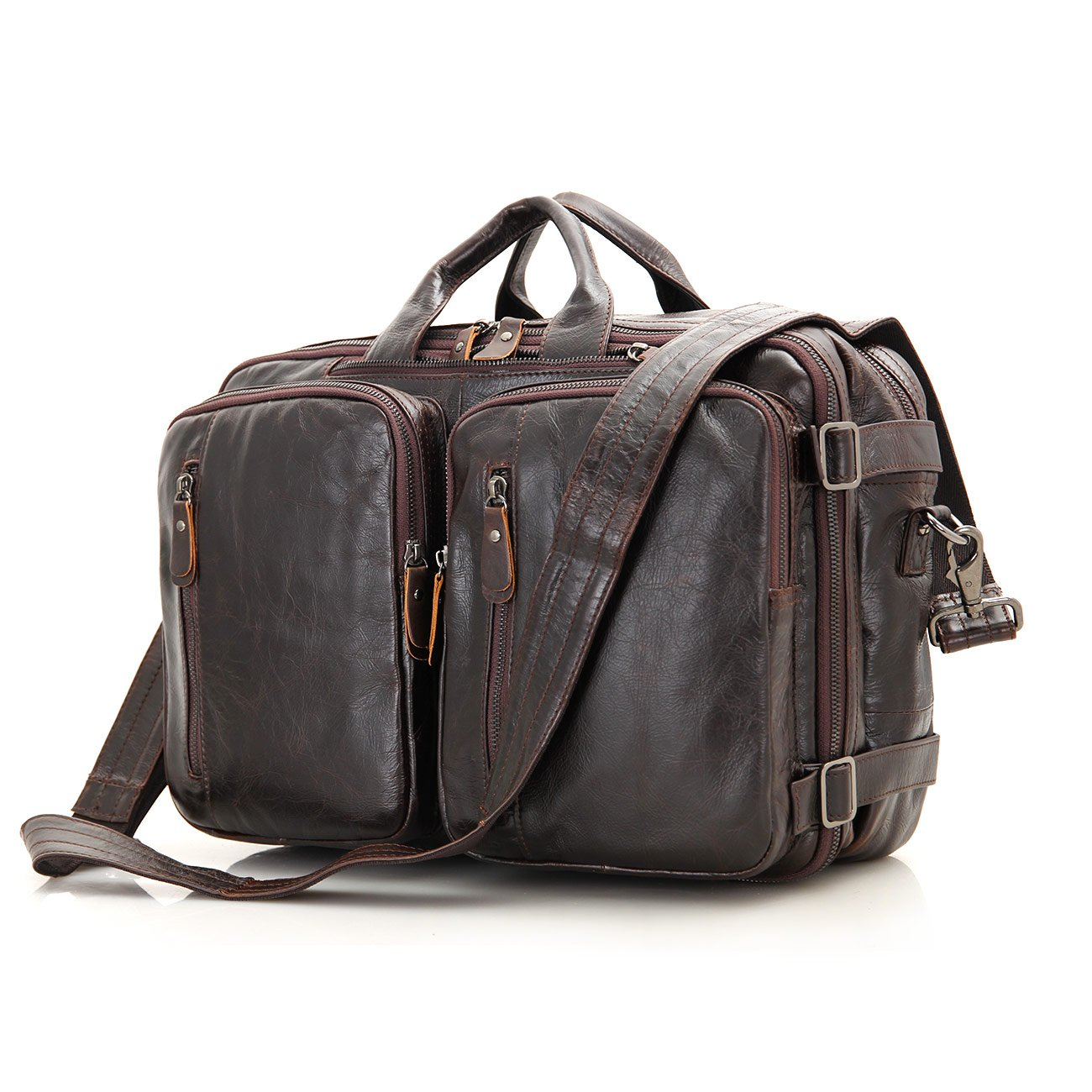 Genuine Leather Mens Briefcase Backpack Messenger Travel Bag (Dark Brown) by Trendingleather