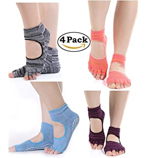 Zerame 4 Pares algodón Yoga Calcetines Mujer Antideslizante Calcetines de Cinco Dedos para Estos Deportes, como Yoga,…