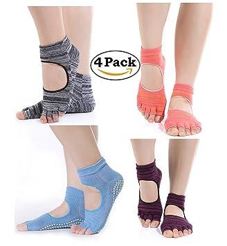 4 pares algodón Yoga Calcetines Mujer Antideslizante Calcetines de cinco dedos para Estos Deportes, como