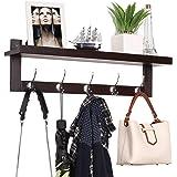 HOMFA Bamboo Entryway Wall Shelf Hanging Shelf 29 in L, Wall-Mounted Coat Hook Rack with 5 Dual Metal Hooks for Hallway…