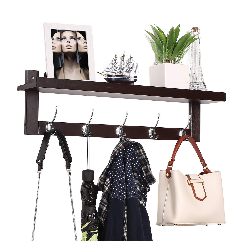 Homfa Bamboo Entryway Wall Shelf Hanging Shelf Coat Hook Rack Wall-Mounted with 5 Dual Metal Hooks for Hallway, Bathroom, Living Room, Bedroom, Dark Brown