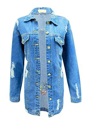 eee0ea85e0224 Women s Distressed Embroidered Ripped Oversized Longline Denim Jacket - UK  ...