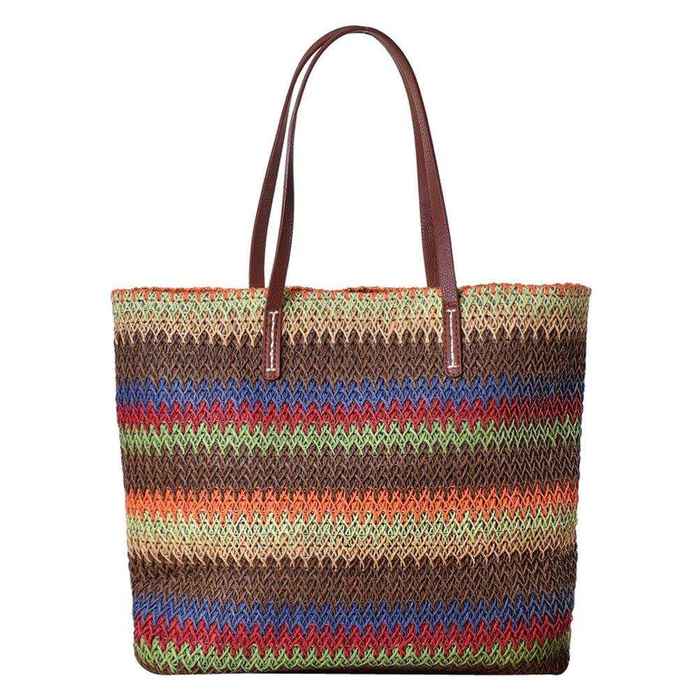 Amazon.com: Donalworld rayas de colores, verano paja de piel ...