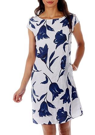 heiße Produkte neueste Art von gut CHARIS MODA Damen Leinen Kleid Sommerkleid A-Linie Tulip Druck Design