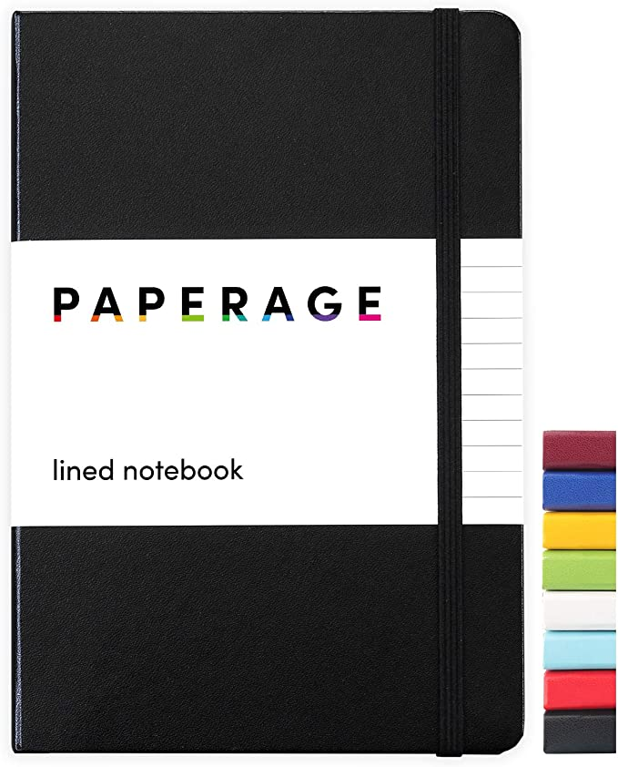 Paperage Lined Journal Notebook, Hard Cover, Medium 5.7 x 8 inches, 100 gsm Thick Paper (Black, Ruled)