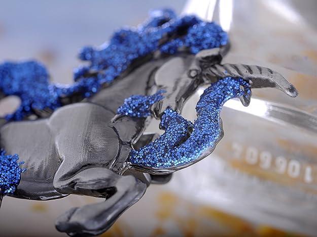 "3.15/"" cheval licorne Broche Broche Pendentif noir gris strass cristal 05954C6"