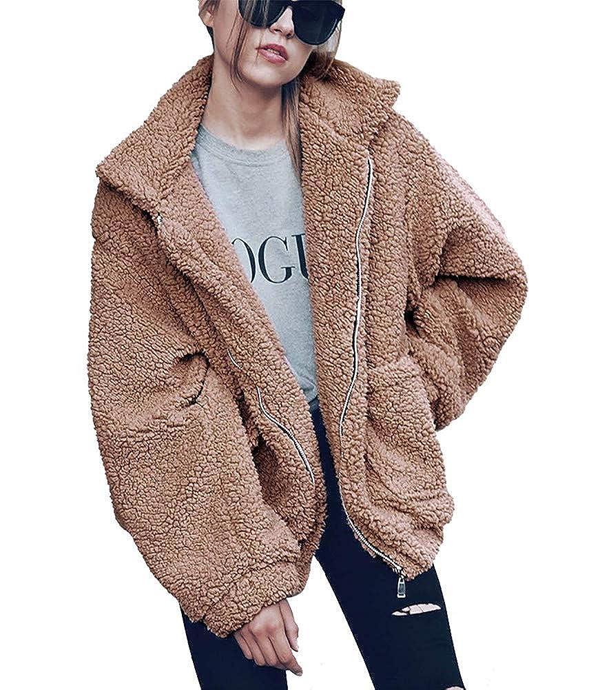 Dikoaina Women's Lapel Long Sleeve Faux Shearling Coat Winter Boyfriend Winter Faux Fur Coat