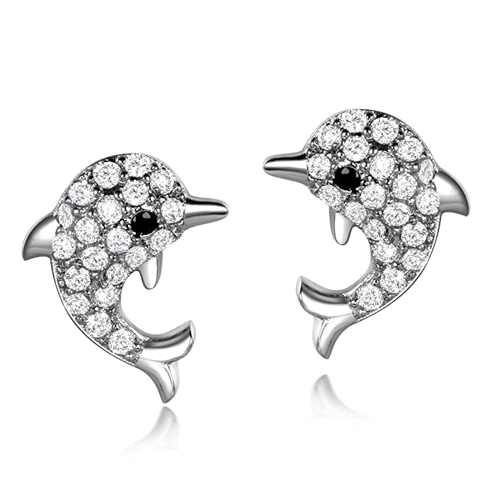 6ecf0d654a5a2 SELOVO Dolphin Stud Earrings for Girls Kids Cute Silver Tone Zircon Stone