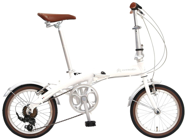 CITROEN(シトロエン) AL-FDB166CD 16インチ 軽量アルミフレーム 折りたたみ自転車 12.3kg ドルフィン型メインフレーム シマノ製6段変速ギア Vブレーキシステム 前後泥除け付 高さ調節可能伸縮式ハンドル お洒落タイヤ 65201 B0792QG6T6 ホワイト ホワイト
