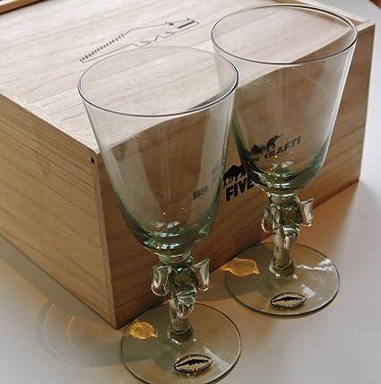 Comercio justo, elefante de cristal Ngwenya vástago – copas para vino caja de madera conjunto