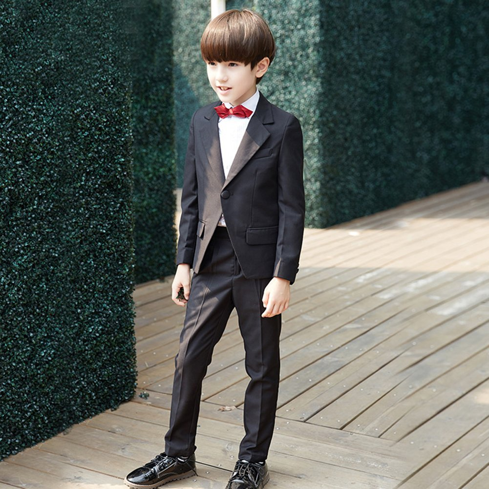 SK Studio Boys' 5 Pieces Wedding Solid Color Dress Formal Suits Black by SK Studio (Image #4)