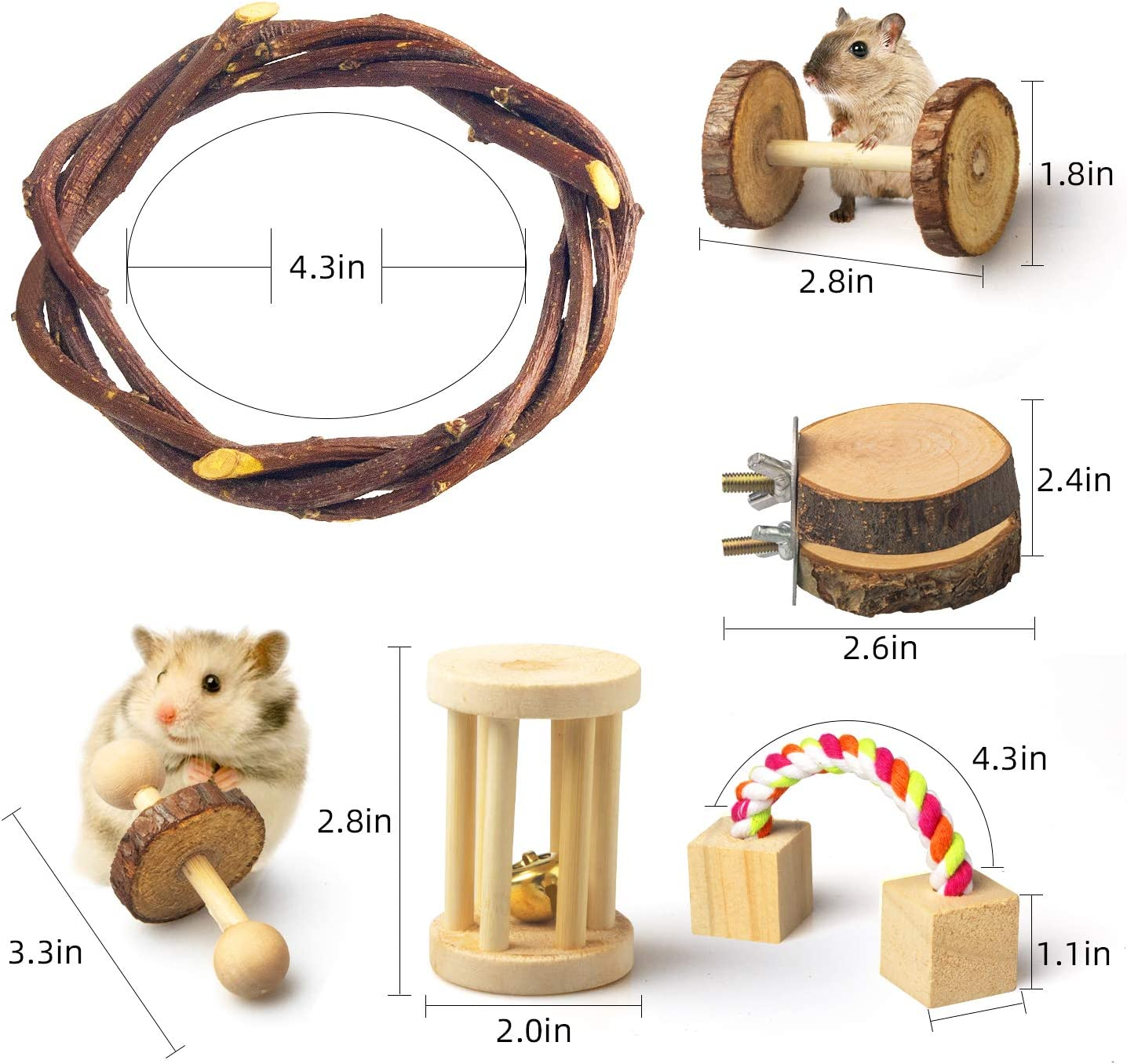JOUEUYB Hamster Chew Toys Exercise Bell Roller Teeth Care Molar Toy Dumbells for Bunny Valentines Day Gifts 12 Pack Natural Wooden Pine Guinea Pigs Rats Chinchillas Toys Accessories