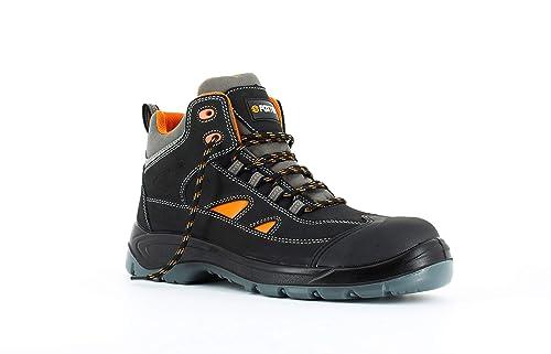 Foxter - Zapatos de Seguridad | Botas de Trabajo para Hombre | Ligeros | Impermeable | Sin Metal | Piel Negra | S3 SRC