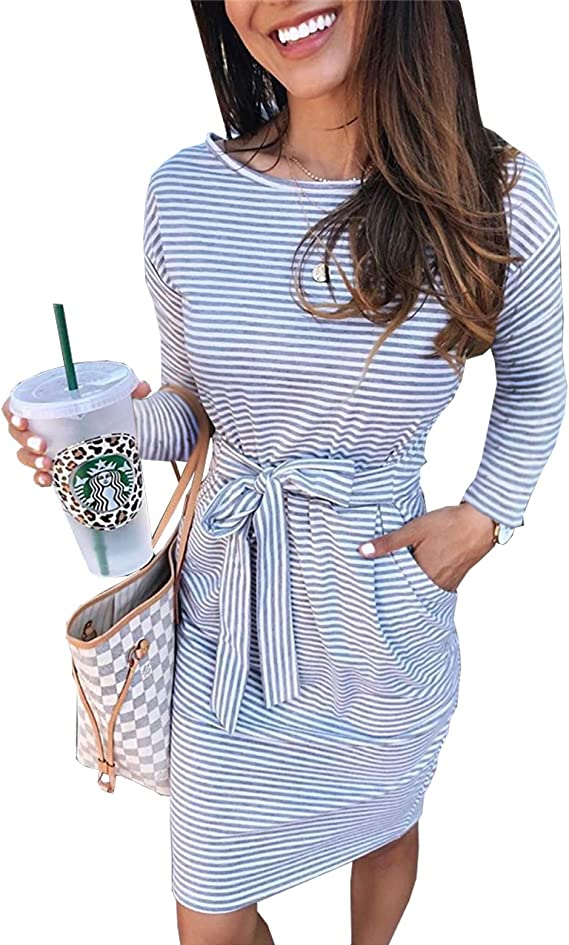 PRETTYGARDEN Women's 2019 Casual Short Sleeve Party Bodycon Sheath Belted Dress with Pockets (X-Light Grey, Small) best women's spring dress
