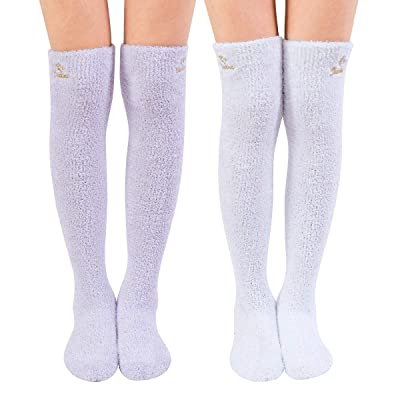 SKOLA 2 Soft Warm Fuzzy over the Knee High Long Winter Cozy Slipper Socks (Dark Purple/Blue 2Pairs): Clothing