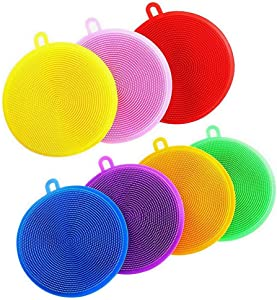 Silicone Dish Scrubber, 7 Pack Silicone Sponge Dish Brush Food Grade BPA Free Reusable Rubber Sponges Dishwasher Safe and Dry Fast for Kitchen Dish Dishes Fruits Vegetables Washing and Cleaning