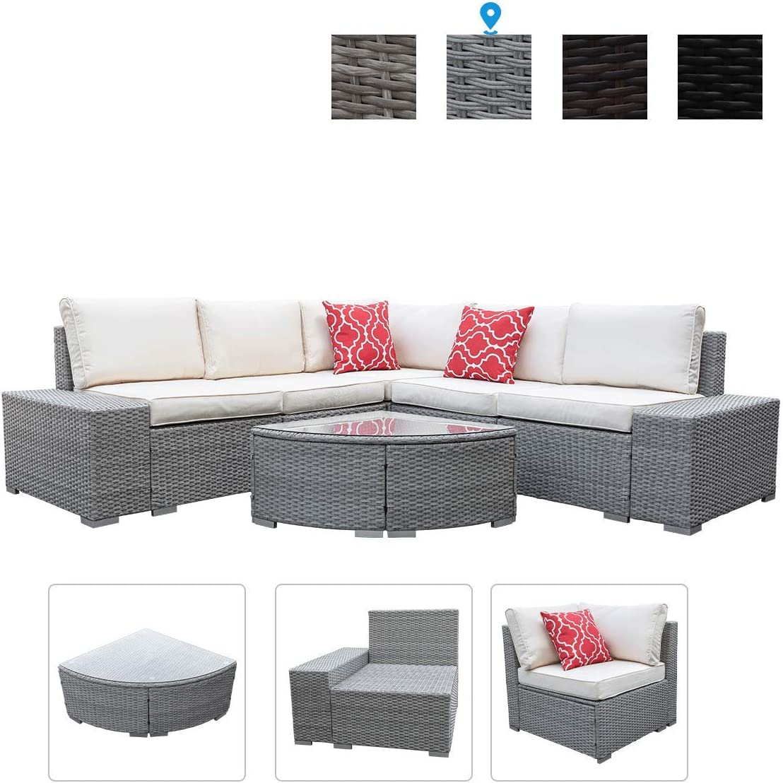 6 Pieces Outdoor Patio Furniture Set All-Weather Manual Weaving Wicker PE Rattan Sofa Conversation Set