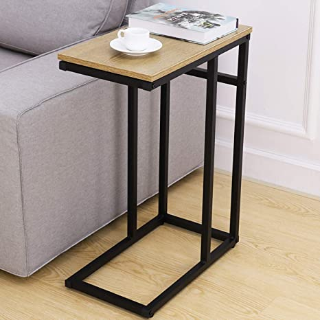 Homemaxs C Table Sofa Side Table For Small Space Snack Table With Wood Finish And Steel Construction For Couch And Bedside