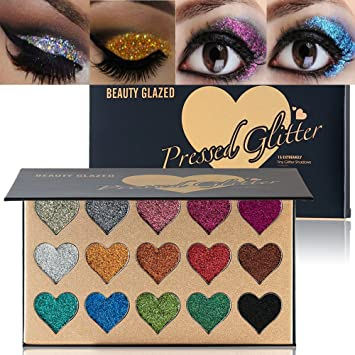 63098aa146d Amazon.com : BEAUTY GLAZED Makeup 15 Colors Glitter Eyeshadow Palette :  Beauty