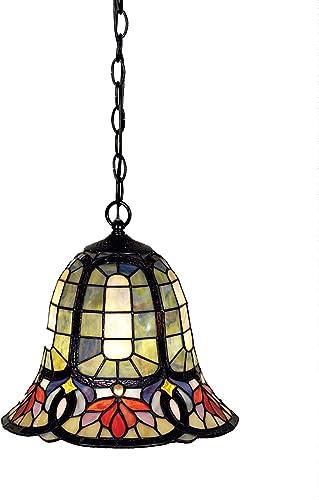 Quoizel TF1737VB Hyacinth Tiffany Mini Pendant Lighting, 1-Light, 150 Watts, Vintage Bronze 12 H x 12 W