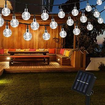 Vegena 6.5M 30 LED Guirnaldas de Luces Exterior Solar, IP65 Impermeable 2 Modos Luces Decorativas, Guirnaldas Luminosas para Jardines, Casa, Boda, Fiesta de Navidad (Blanco): Amazon.es: Iluminación