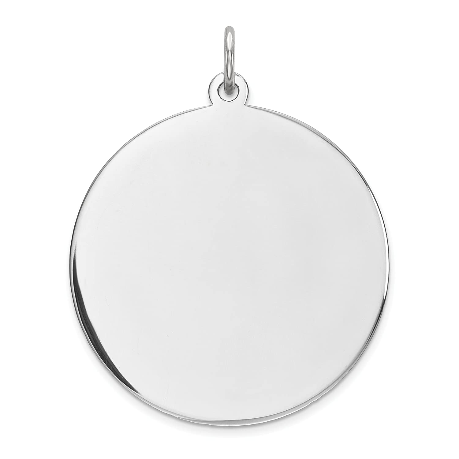 Rnd Polish Front//Satin Back Disc Charm Sterling Silver Rhod-plated Eng