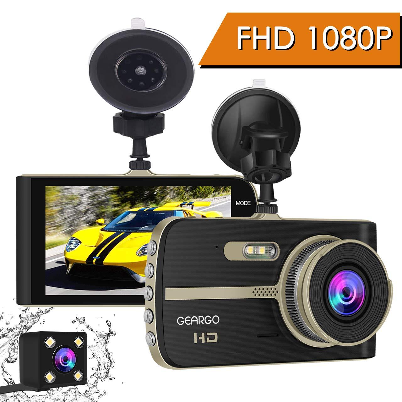 Cámara de Coche, GEARGO Dashcam Full HD 1080P Dual Lens Cámara ...