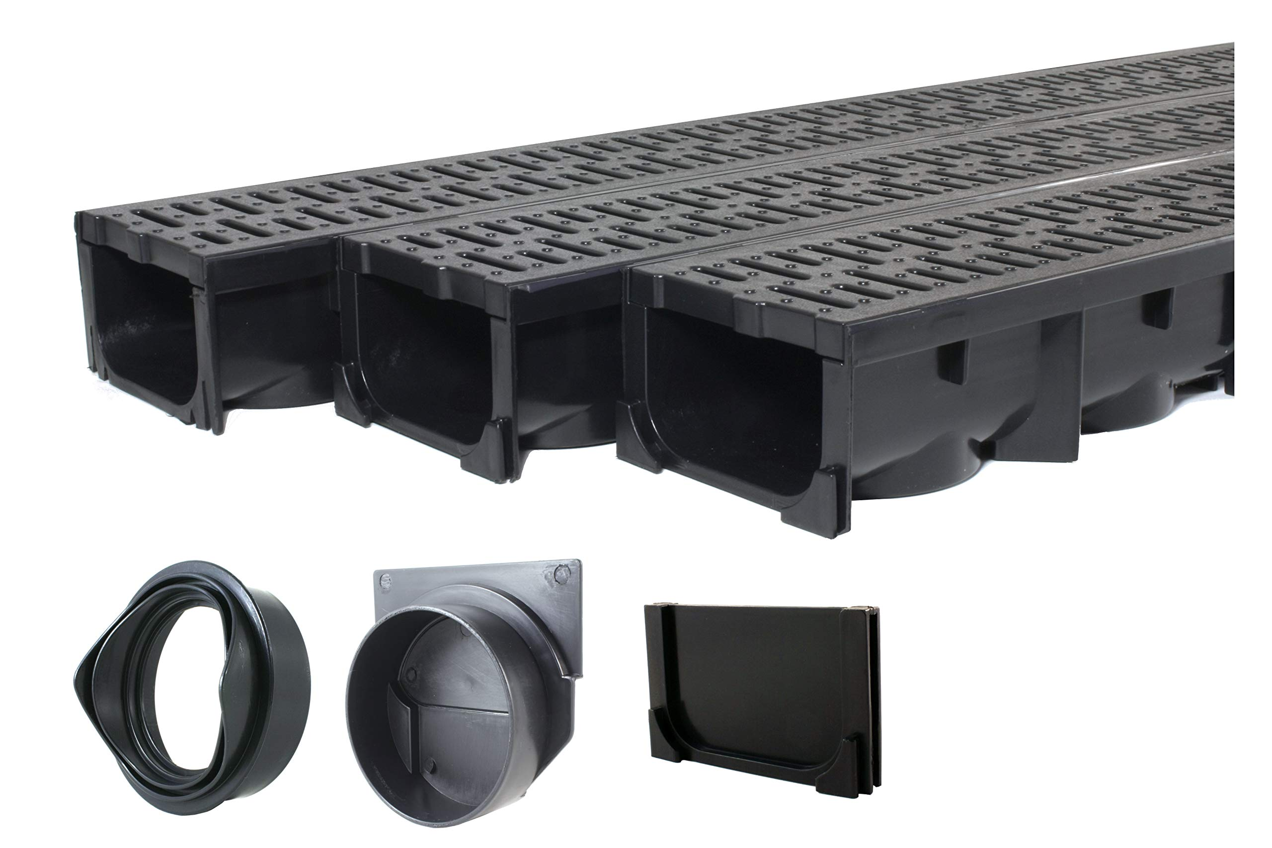 Drainage Trench - Channel Drain With Grate - Black Plastic - 3 x 39'' - (117'' Total Length)