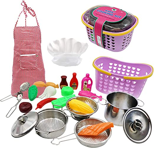 11Pcs Kitchen Costume Role Play Kits With Apron US Kids Cooking And Baking Set