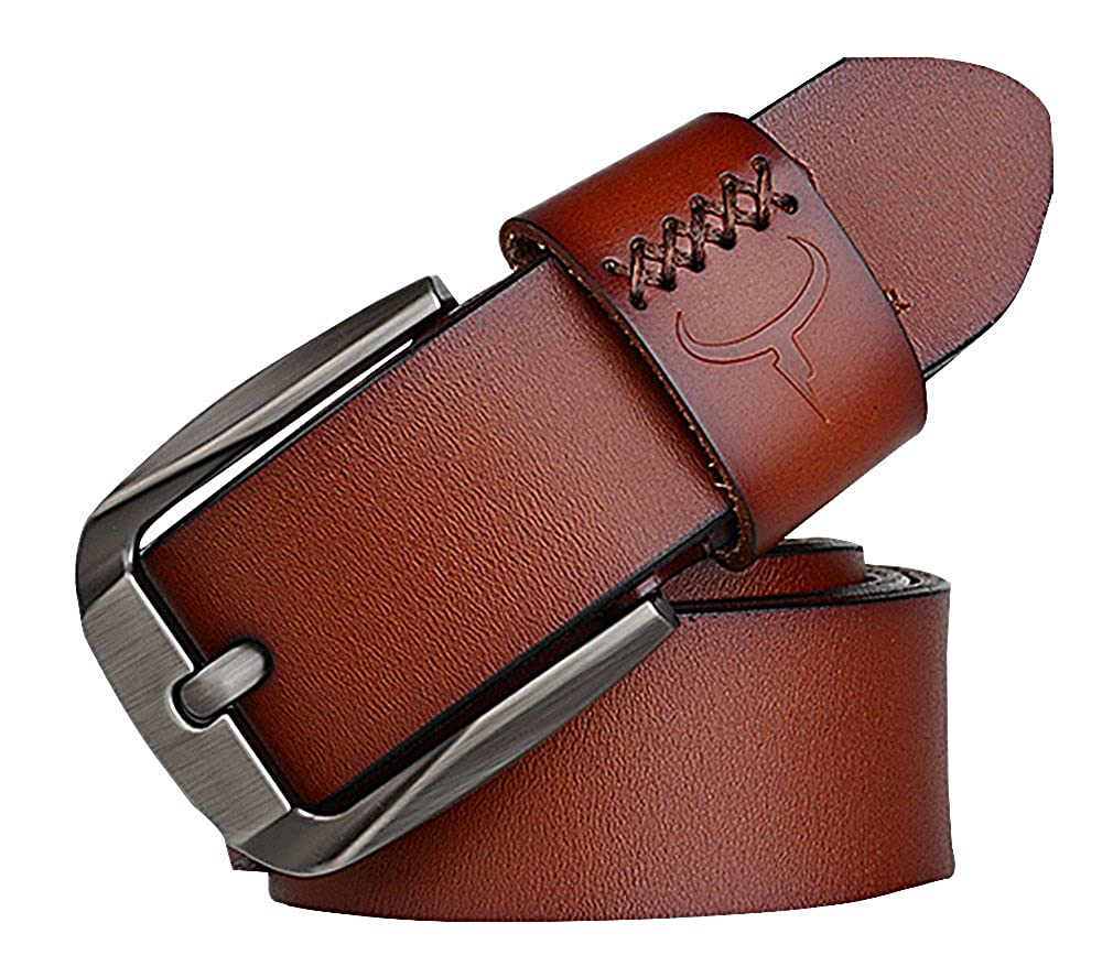 Celino Mens Black Brown Burgundy Genuine Cowhide 3.6 cm Wide Pin Buckle Belt