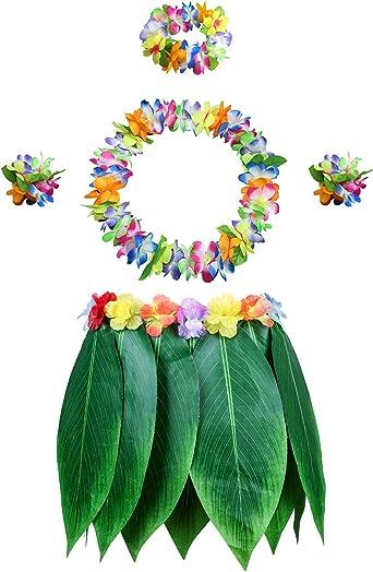Hawaiian Pink Hula Leaf Skirt Fance Dress Luau Beach Tropical Costume Accessory