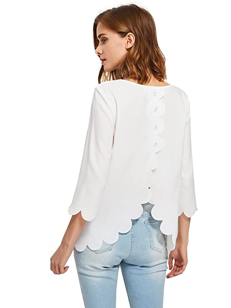 1926fdbfd9c61 Verdusa Women s 3 4 Length Sleeve Scallop Buttoned Overlap Blouse Tops White  XS
